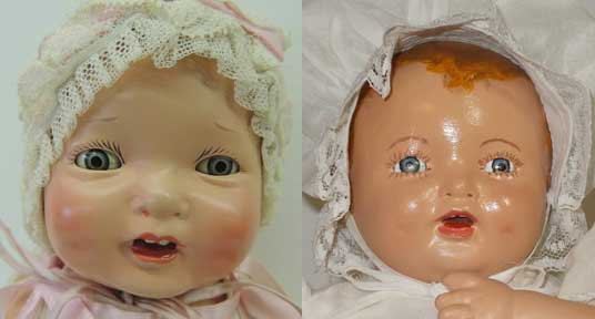 original doll on left and poor restoration on right