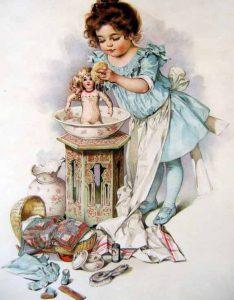 Giving dolls a bath.